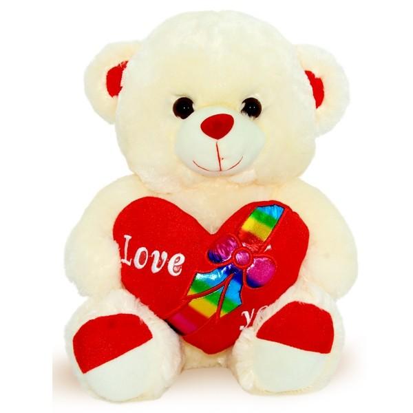 Beige Teddy Bear Red Heart