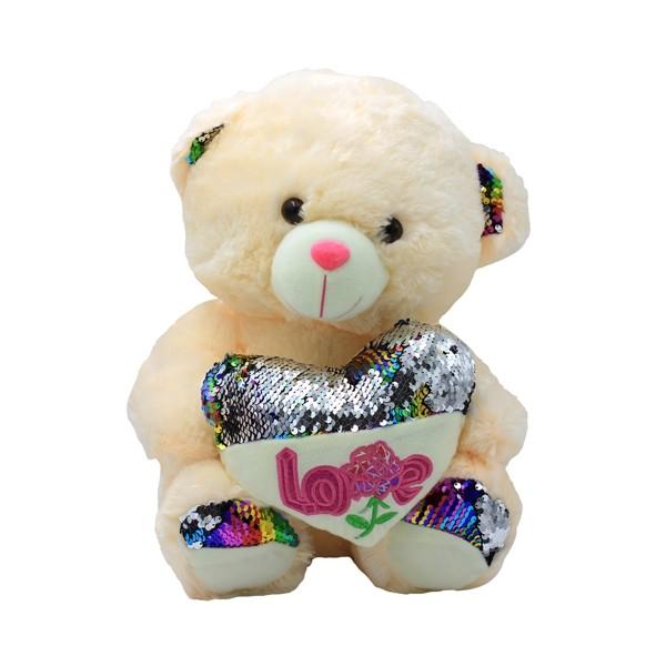 Beige Teddy Bear Heart