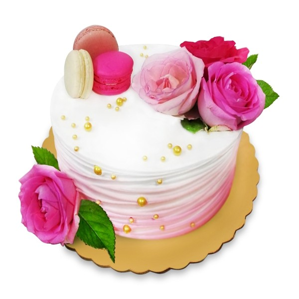 Cake with fresh roses