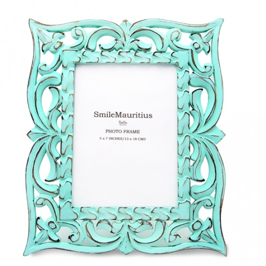 Turquoise wooden picture frame