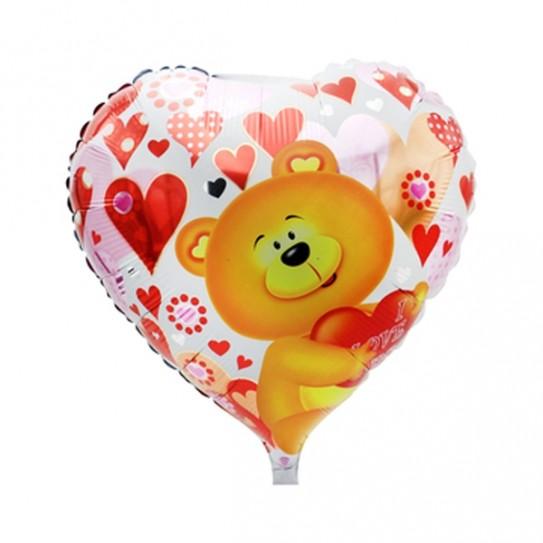 Heart Shape Teddy Balloon